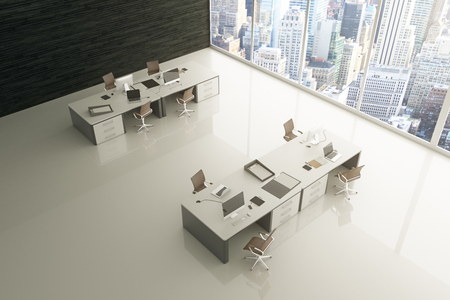 spacious: Topview of light grey office interior with glossy floor, city view and sunlight. 3D Rendering