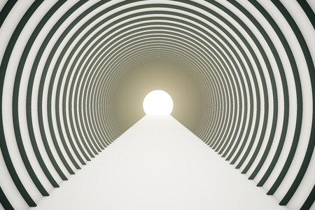 tunnel light: Abstract black and white tunnel with light at the end. 3D Rendering