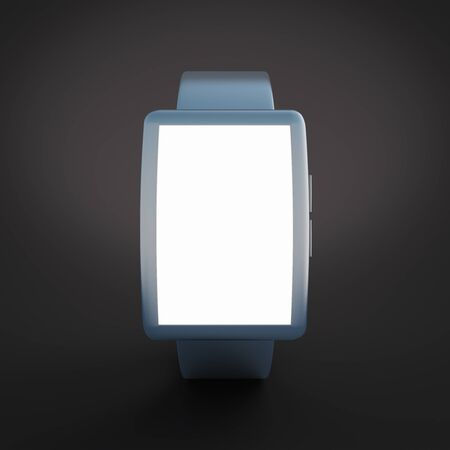 futures: Smartwatch with white screen on black background. Mock up, 3D Rendering
