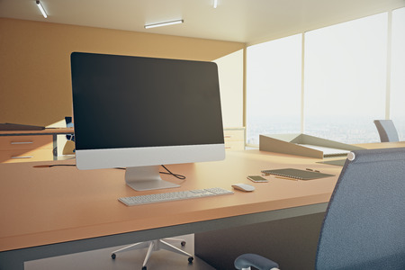 blank computer screen: Closeup of table with blank computer screen in orange office. Mock up, 3D Rendering