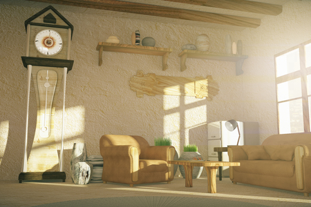 country house: Country style living room interior design with floor clock. 3D Rendering Stock Photo
