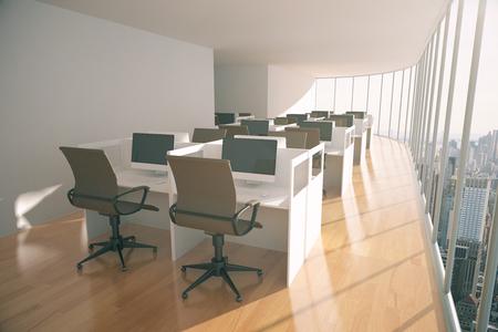 wooden floor: Coworking space with wooden floor, concrete walls and wooden floor. 3D Rendering Stock Photo