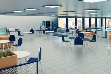tile floor: Canteen interior with tile floor, square lights on ceiling and city view. 3D Rendering