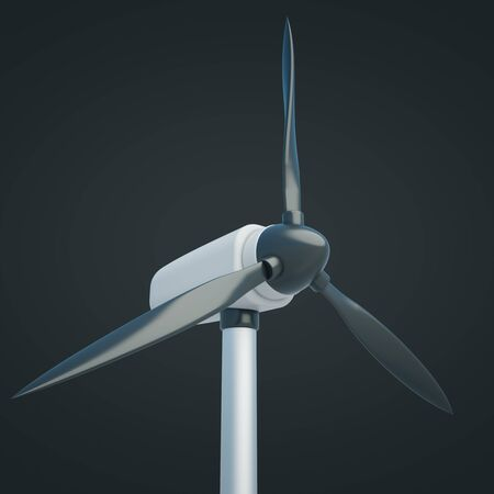 windpower: Closeup of wind generator on dark background. 3D Rendering Stock Photo