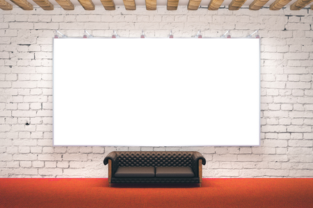 carpet and flooring: Large blank picture frame in room with brick wall, wood plank ceiling, red carpet flooring and leather sofa. Mock up, 3D Rendering