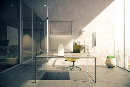 glass doors: Workplace in office with wooden floor, concrete wall, glass doors and windows with city view. 3D Rendering Stock Photo