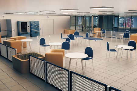city lights: Canteen interior with tile floor, square lights on ceiling and night city view. 3D Rendering