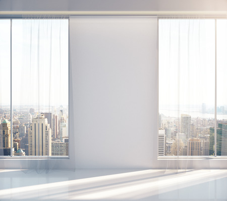 sunlit: Blank wall in empty sunlit interior with New York city view. Mock up, 3D Rendering