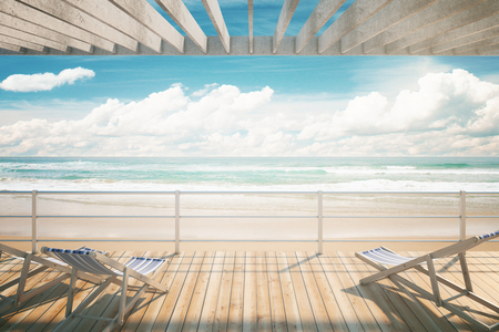 chaise: Chaise longues under awning at the seaside. 3D Rendering