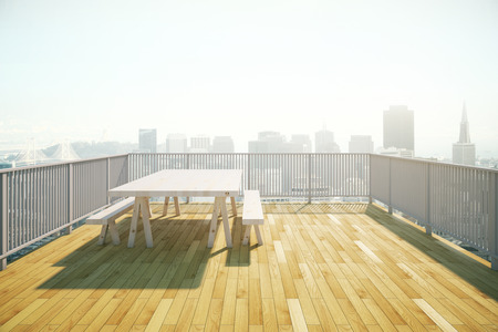 patio deck: Balcony design with table and benches, wooden floor and railing on sunlit city background. 3D Rendering