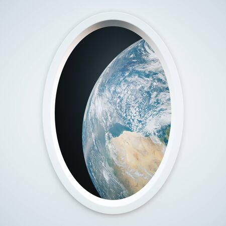 nasa: Light spaceship window with earth view. Elements of this image furnished by NASA. 3D Rendering