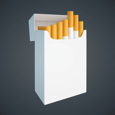 sideview: Sideview of open white cigarette pack on dark background. Mock up, 3D Rendering