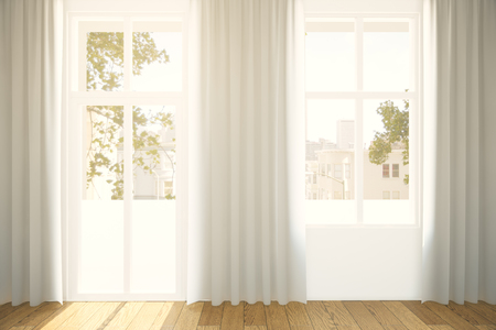 curtains: Windows with curtaints and city view in interior with wooden floor. 3D Rendering