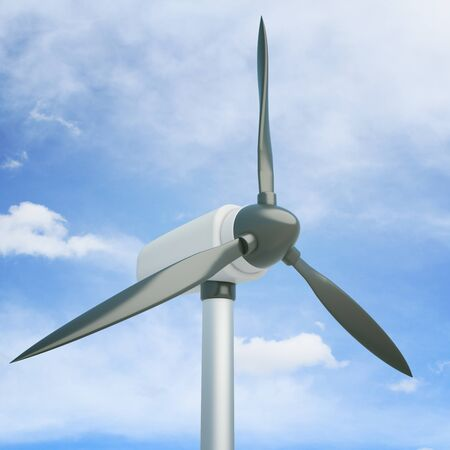 windpower: Closeup of wind generator on blue sky background. 3D Rendering