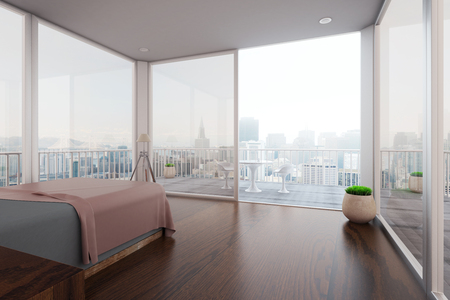 foggy: Modern spacious bedroom interior with balcony and new York city view. 3D Rendering