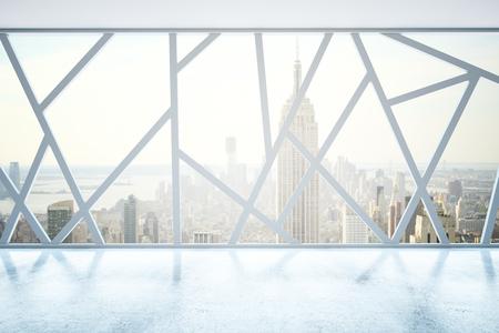 Creative lege interieur met abstracte panoramische ramen en New York uitzicht op de stad. 3D Rendering