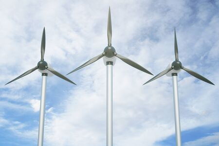 windpower: Three wind genetaros on blue sky background. 3D Rendering