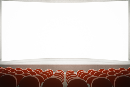 movie screen: Movie theater with rows of red seats and large blank screen. Mock up, 3D Rendering