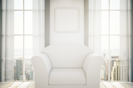 living room sofa: White armchair in room with blank picture frame on wall, two windows with curtains and city view. Mock up, 3D Rendering Stock Photo