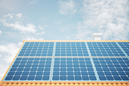 panels: Front view of solar panels on house roof against bright blue sky. 3D Rendering Stock Photo
