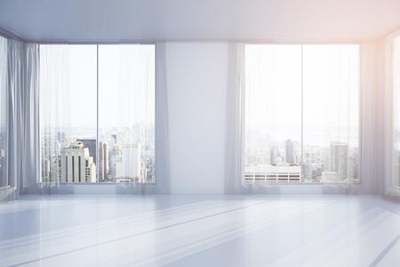 Lege interieur met gordijnen, ramen en New York uitzicht op de stad. 3D Rendering