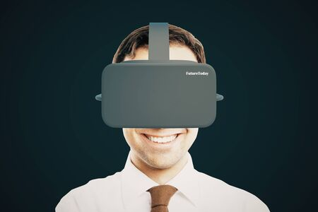 virtual reality simulator: Smiling businessman with virtual reality helmet on dark background. 3D Rendering Stock Photo