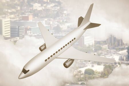 white clouds: White airplane and cityscape peeking through clouds. 3D Rendering
