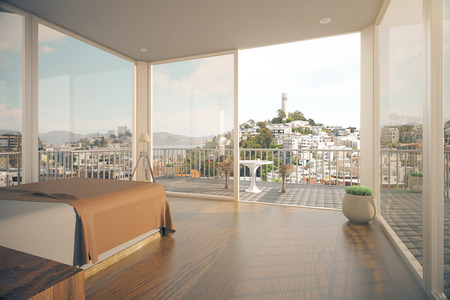 balcony view: Modern spacious bedroom interior with balcony and city view with sunlight. 3D Rendering