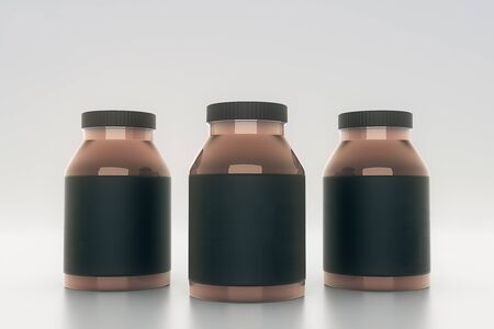 light brown background: Brown glass bottles with empty black labels on light background. Mock up, 3D Rendering