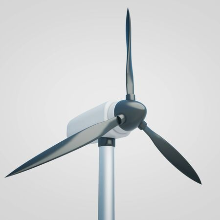 windfarm: Closeup of wind generator on light background. 3D Rendering Stock Photo