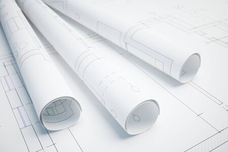 architectural rendering: Paper rolls with architectural plan. 3D Rendering Stock Photo