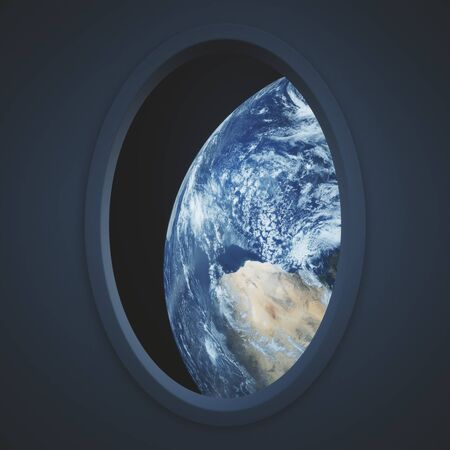 illuminator: Dark spaceship window with earth view. 3D Rendering