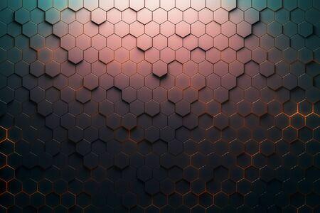 Red hexagon pattern. 3D Rendering 스톡 콘텐츠