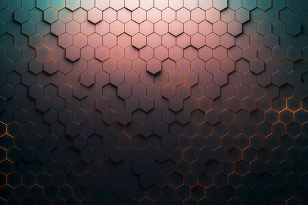 Red hexagon pattern. 3D Rendering Archivio Fotografico