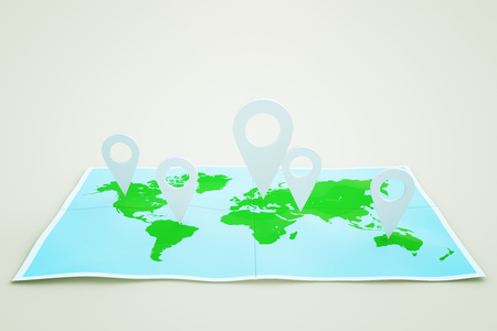 travelling: Map with white location pins on light background. Traveling concept. 3D Rendering