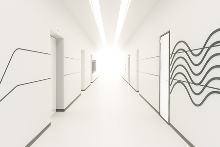 corridor: Modern bright corridor interior with pattern on wall, multiple doors and light at the end. 3D Rendering