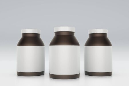 brown bottles: Brown bottles with blank labels on light background. Mock up, 3D Rendering