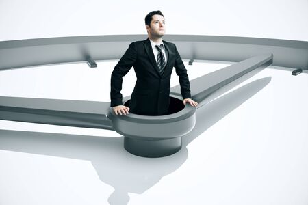 man looking out: Time management concept with businessman drowing in clock. 3D Rendering