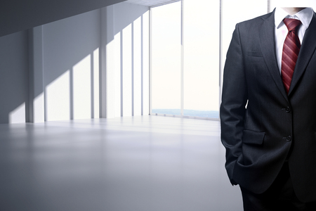 executive apartment: Businessman body in empty white interior with windows and daylight. 3D Rendering Stock Photo
