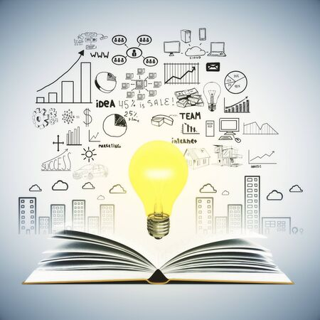idea sketch: Idea concept with open book, illuminated lightbulb and business sketch on wall