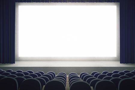 movie screen: Movie theater with blank mock up screen. Cinema auditorium with white copy space screen. Rows of seats in cinema theater. Mock up, 3D Rendering