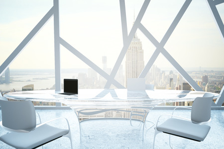 boardroom: Modern conference room with laptops on table and abstract windows with New York city view. 3D Rendering