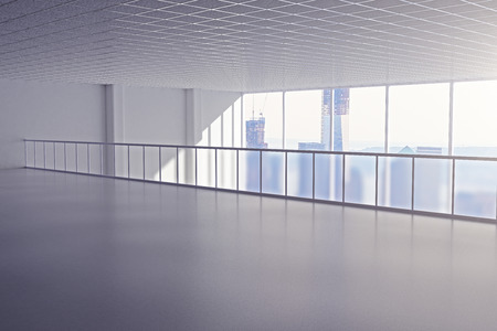 spacious: Spacious interior with railing and windows with city view. 3D Rendering Stock Photo