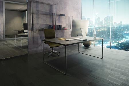 Vista laterale di ufficio interno con posto di lavoro, pavimento in legno, mirrow e illuminata vista della città di notte. Rendering 3D