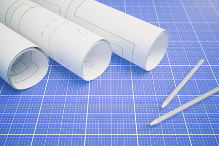 paper rolls: Paper rolls with architectural plan and pencils on blueprint pattern background. 3D Rendering