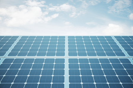 technolgy: Front view of solar panels against blue sky. 3D Rendering Stock Photo