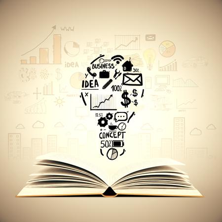 libro abierto: Concepto de la idea con el libro abierto, bombilla y bocetos de negocios en el fondo de color marrón claro. Foto de archivo