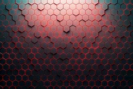 赤のハニカム パターン。3 D レンダリング 写真素材