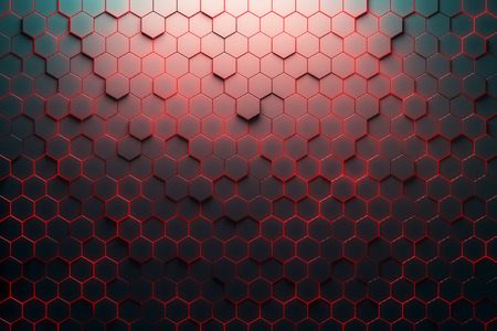 hexagonal pattern: Red honeycomb pattern. 3D Rendering Stock Photo