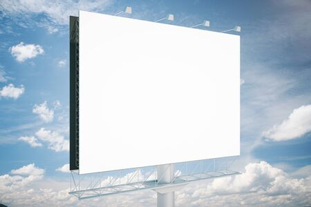 blank billboard: Blank commercial billboard with clear sky in the background. Side view. Mock up, 3D Rendering